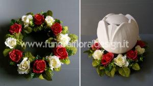 Coroncina fiori artificiali urna cineraria