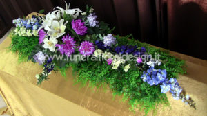 Croce funebre copricassa fiori artificiali